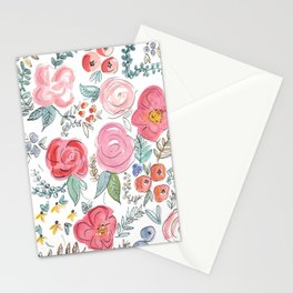 Watercolor Floral Print Stationery Cards