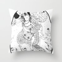 seahorse Throw Pillows featuring Seahorse by Amy Consolo