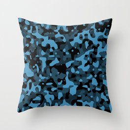 Dark Blue Camo Throw Pillow