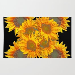 Golden Yellow Sunflowers on Black Color Rug