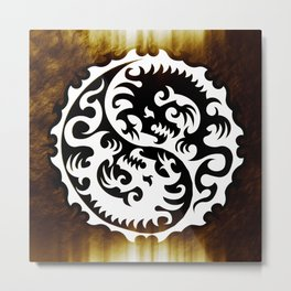 Dragon Yin Yang Metal Print