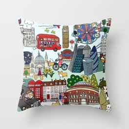 The Queen's London Day Out Throw Pillow