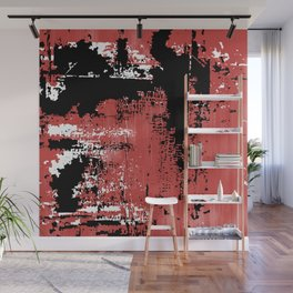 Grunge Paint Flaking Paint Dried Paint Peeling Paint Red White Black Wall Mural