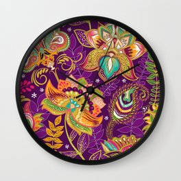 Floral Boho Pattern Wall Clock