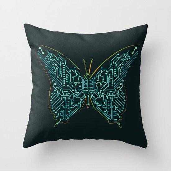 Mechanical Butterfly Throw Pillow