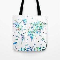world map animals collage Tote Bag