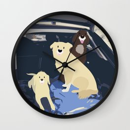 There once was a dog road-trip Wall Clock