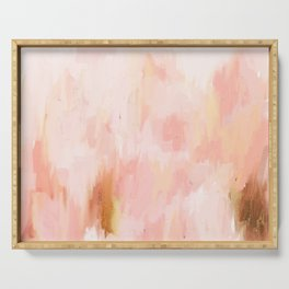 Abstract minimal peach, millennial pink, white and gold painting Serving Tray