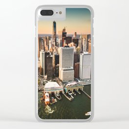 aerial view of manhattan Clear iPhone Case