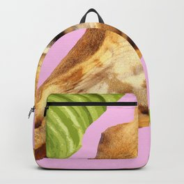 Giraffe with green leaves on a pink background Backpack
