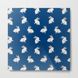 Rabbit pattern in dark blue Metal Print