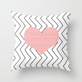 Abstract geometric pattern - heart - zigzag - black and pink. Throw Pillow