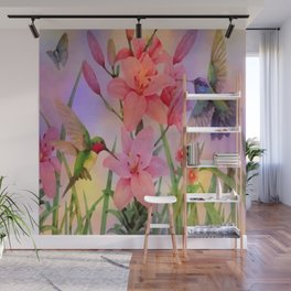 Painterly Hummingbirds And Flowers Wall Mural