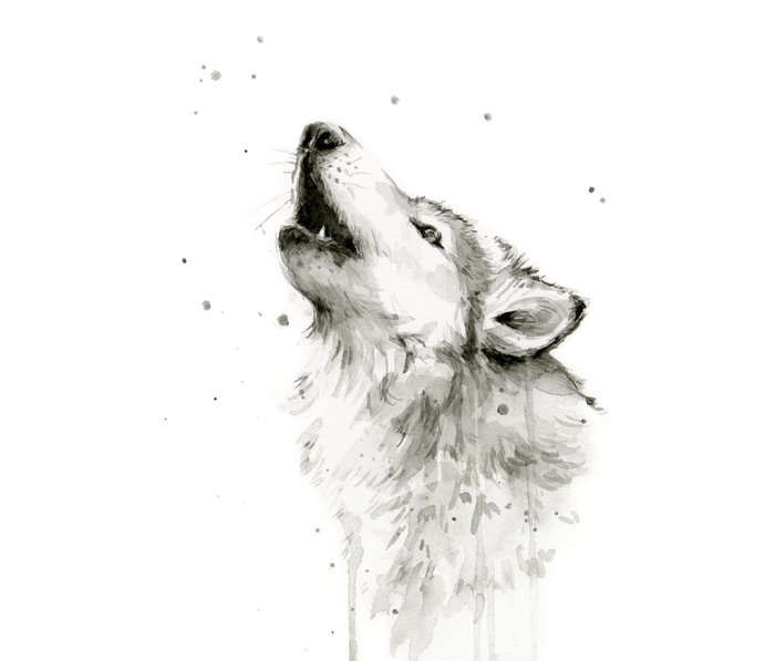 Wolf Howling Watercolor Animals Wildlife Painting Animal Portrait Metal Travel Mug