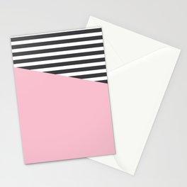 Pink & Gray Stripes Stationery Cards