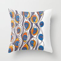 peacock Throw Pillows featuring peacock by colli1.3designs