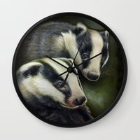 badger Wall Clocks featuring Badger by Claudia Hahn