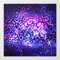 TRIBAL LEOPARD GALAXY Animal Print Aztec Native Pattern Geometric Purple Blue Ombre Space Galactic Canvas Print