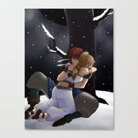 chrono trigger Canvas Prints featuring Chrono and Marle by Fyrielle