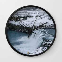 Waterfall in Icelandic highlands during winter with mountain - Landscape Photography Wall Clock
