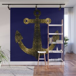 Yellow Gold sparkles Anchor on Dark navy blue Wall Mural