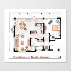 Floorplan of Dexter Morgan's Apartment v.2 Canvas Print