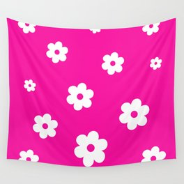White Flowers On Pink Background Wall Tapestry