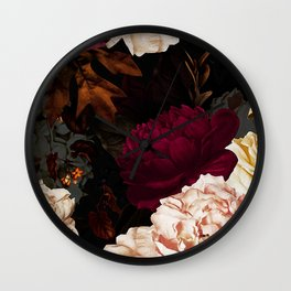 Vintage & Shabby Chic - Midnight Rose and Peony Garden Wall Clock