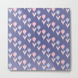 Modern hand painted pink lavender violet tulip floral Metal Print