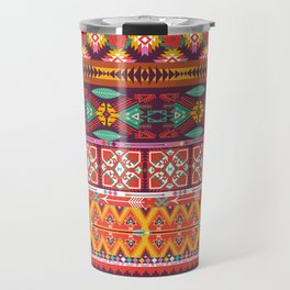 Seamless colorful aztec carpet with birds,flowers and arrow Travel Mug