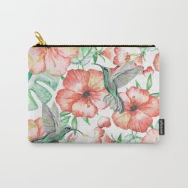 Hummingbirds + Hibiscus Carry-All Pouch