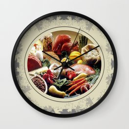 Thanksgiving Dinner and Autumn Decoration. Wall Clock