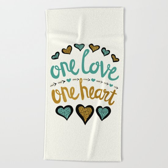 One Love One Heart Beach Towel