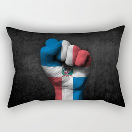 Dominican Flag on a Raised Clenched Fist Rectangular Pillow