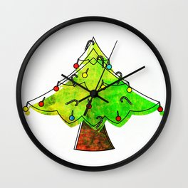 Watercolor Funky Chistmas Tree Wall Clock