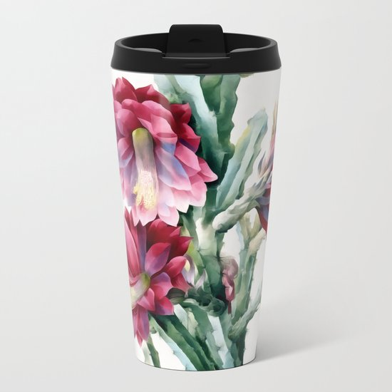 Flowering cactus Metal Travel Mug