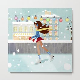 Ice Skating Girl Metal Print