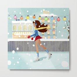 Ice Skating Girl Metal Print