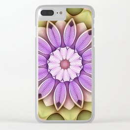 Stippled Flower Mandala Lavender Green Clear iPhone Case