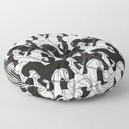 M. Escher - Horses Floor Pillow