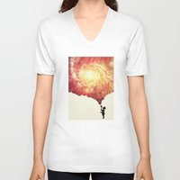 geology V-neck T-shirts featuring The universe in a soap-bubble! (Awesome Space / Nebula / Galaxy Negative Space Artwork) by badbugs_art