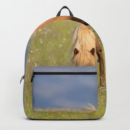 Watercolor Horse 25, Icelandic Pony, Höfn, Iceland, A Quiet Repast Backpack