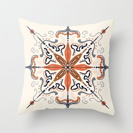 Mandala-Orange Throw Pillow