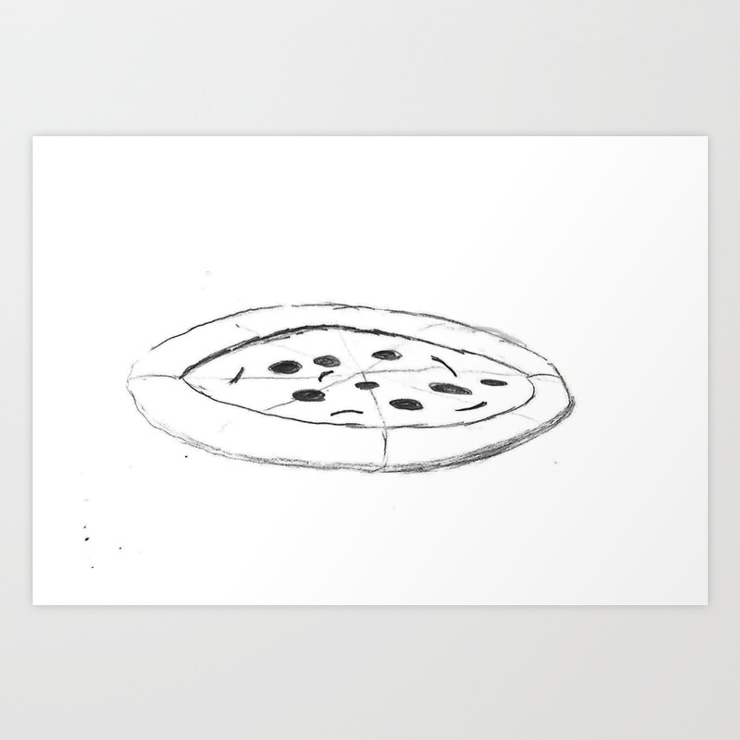 Pizza pencil drawing sketch illustration cartoon black and white comic art foodie art print