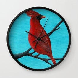 Red Cardinal Bird Wall Clock