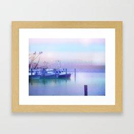 Moored Boats In the Early Morning Fog Framed Art Print