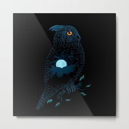 The Owl and the Forest Metal Print