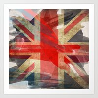 union jack Art Prints featuring Union Jack by Honeydripp Designs
