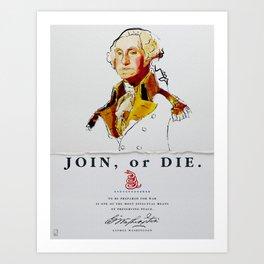 George Washington, Revolution, Join Or die Art Print