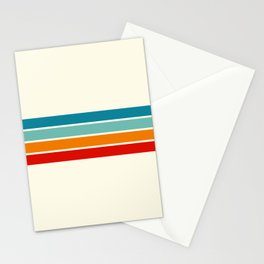 Colored Retro Stripes Stationery Cards